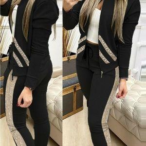 NWOT Sequin black jacket with pants set
